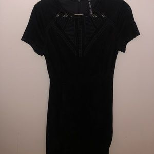 Design Lab- Black suede mini dress with cut-outs